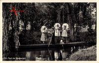 Die Post im Spreewald, Postbote auf einer Gondel, Frauen in Trachten