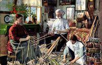 Spankorbmacherei, Korbmacher bei der Arbeit, Erzgebirge