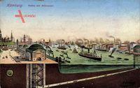 Hamburg Mitte Altstadt, Hafen mit Elbtunnel, Querschnitt Schiffe, Gebäude