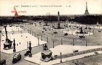 Paris, La Place de la Concorde, Eiffelturm, Denkmal, Omnibus, Straßenpartie