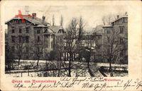 Berlin Lichtenberg Rummelsburg, Straßenpartie mit Blick auf Waisenhaus