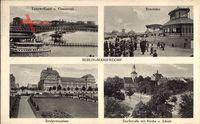 Berlin Tempelhof Mariendorf, Rennbahn, Realgymnasium, Dorfstraße mit Kirche