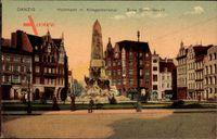 Gdańsk Danzig, Holzmarkt mit Kriegerdenkmal, Ecke Dominikswall