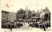 Gdańsk Danzig, Holzmarkt, Passanten, Denkmal, Geschäfte