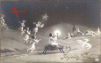 Frohe Weihnachten, Jesuskind, Schlitten, Tauben, Engel
