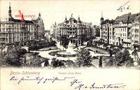 Berlin Schöneberg, Blick auf den Viktoria Luise Platz, Springbrunnen, Häuser