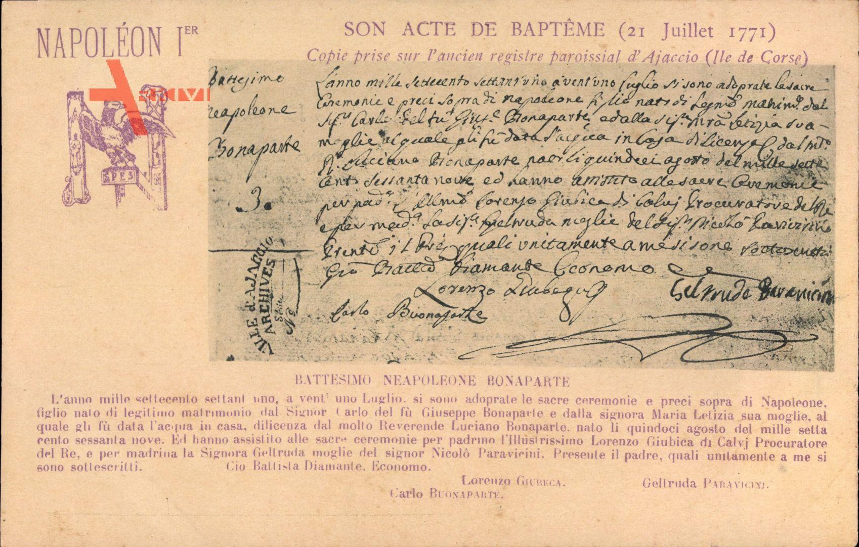 Napoleon Ier, Son Acte de Baptème, 21 Juillet 1771