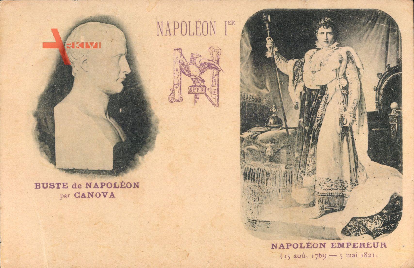 Napoleon Ier, Buste par Canova, Empereur, 1769 à 1821