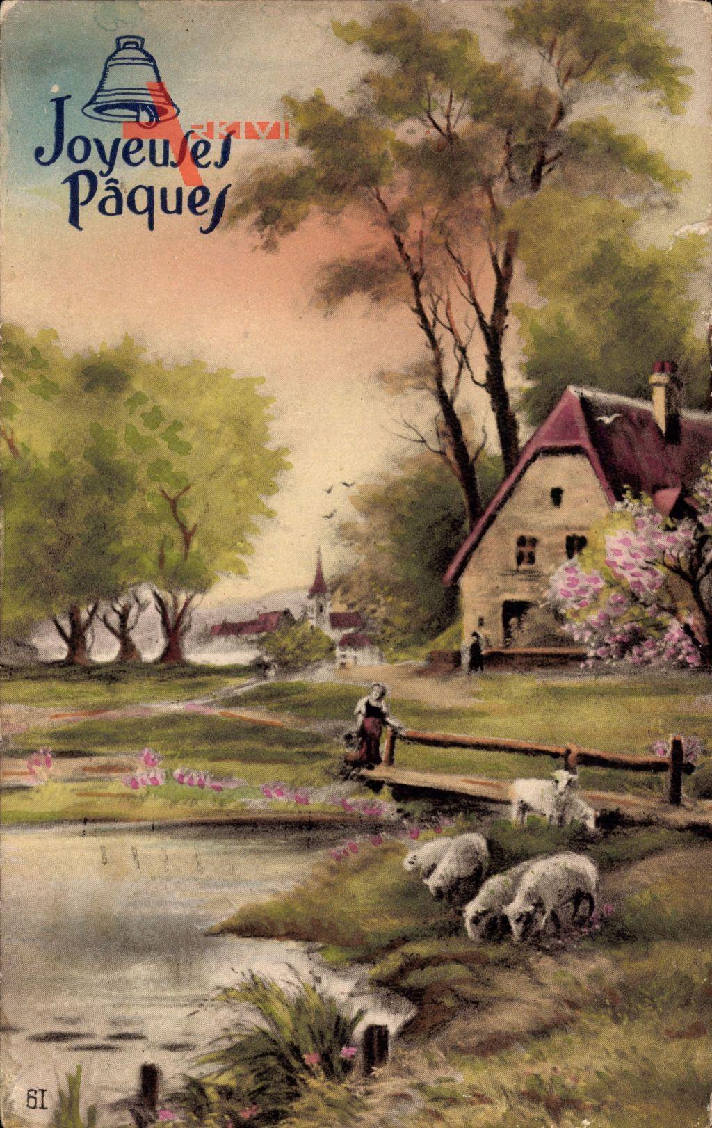 Glückwunsch Ostern, Lämmer am Fluss, Holzbrücke, Frühlingsidylle