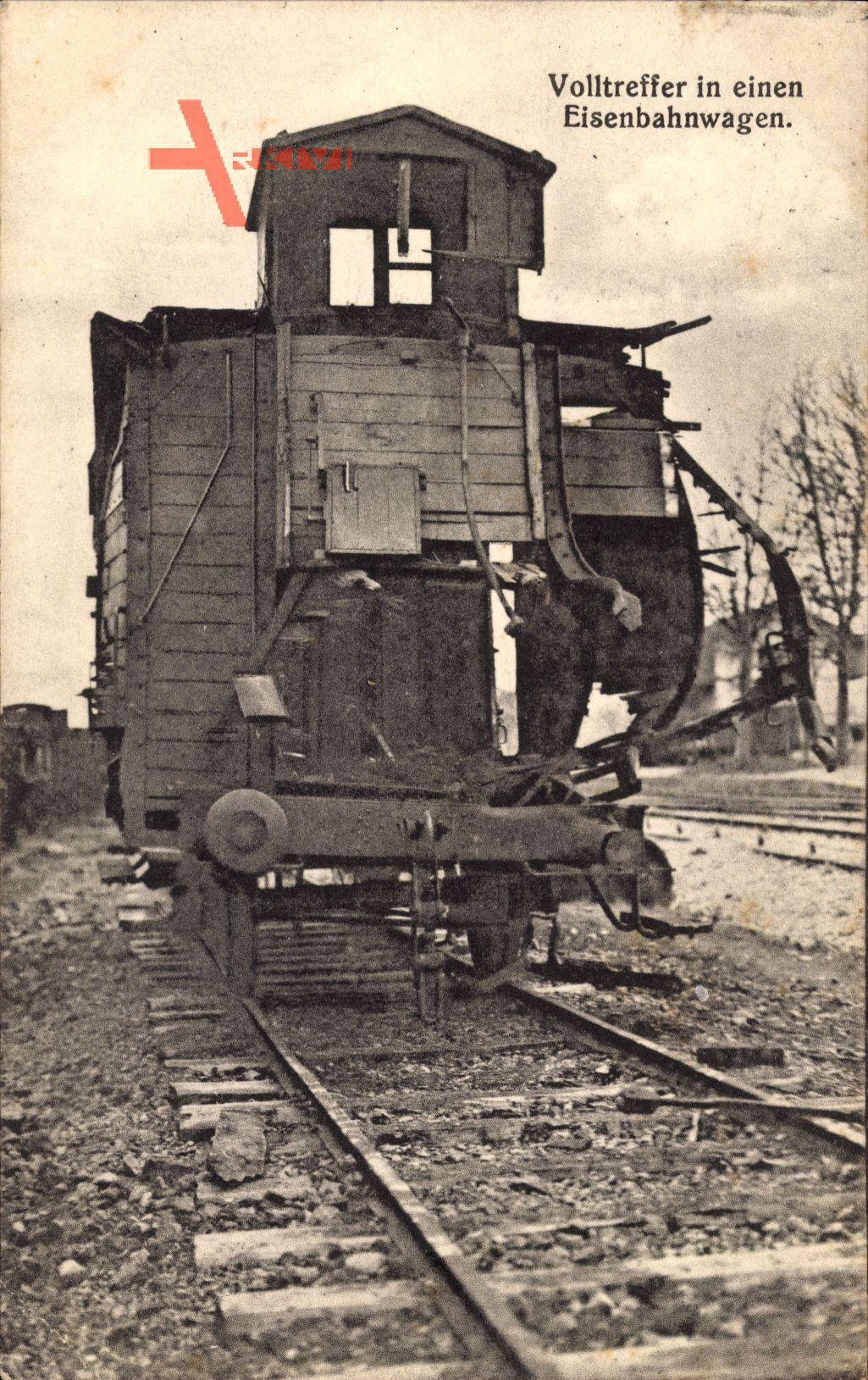 Volltreffer in einen Eisenbahnwagen, Erster Weltkrieg