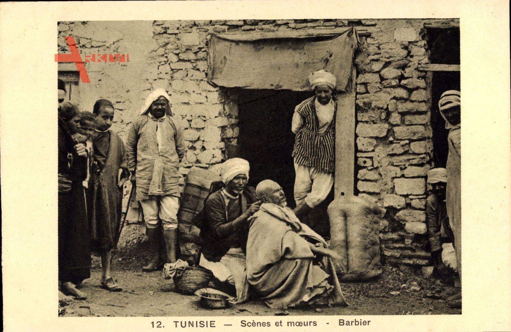 Tunesien, Scènes et Moeurs, Barbier, Ambulanter Friseur