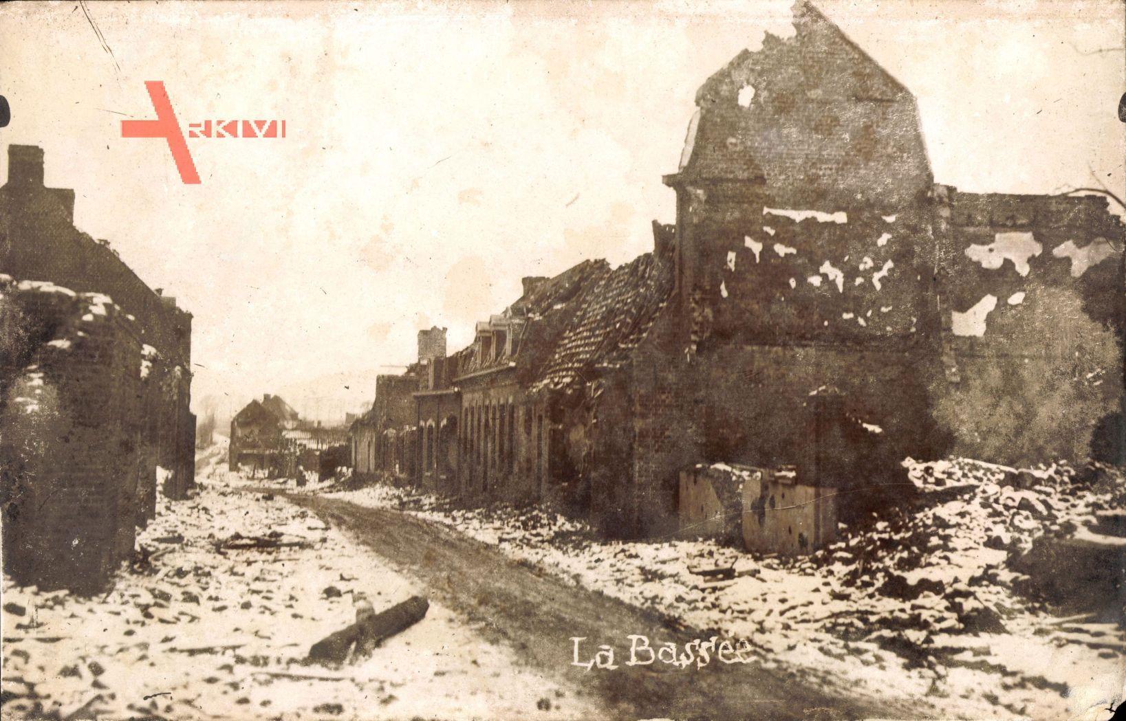 La Bassée Nord, Kriegszerstörungen, Erster Weltkrieg, Winter