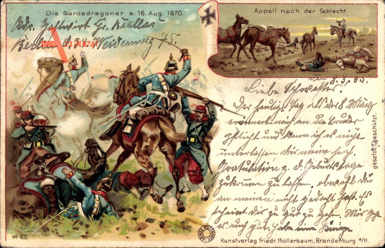 Die Gardedragoner am 16 August 1870, Appell nach der Schlacht