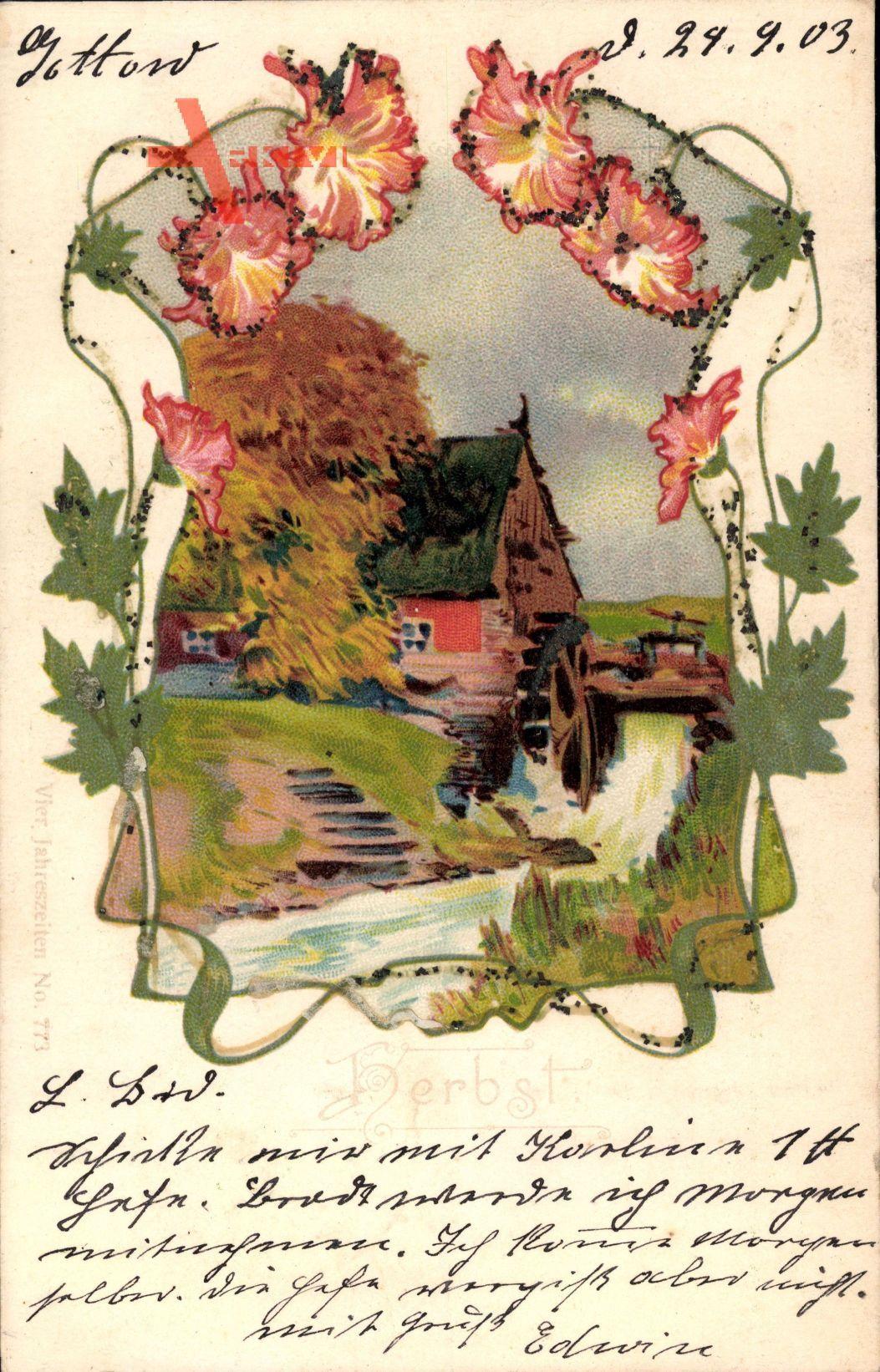 Glitzer Herbst, Wassermühle, Blumen, Fluss, Mühlrad, Allegorie