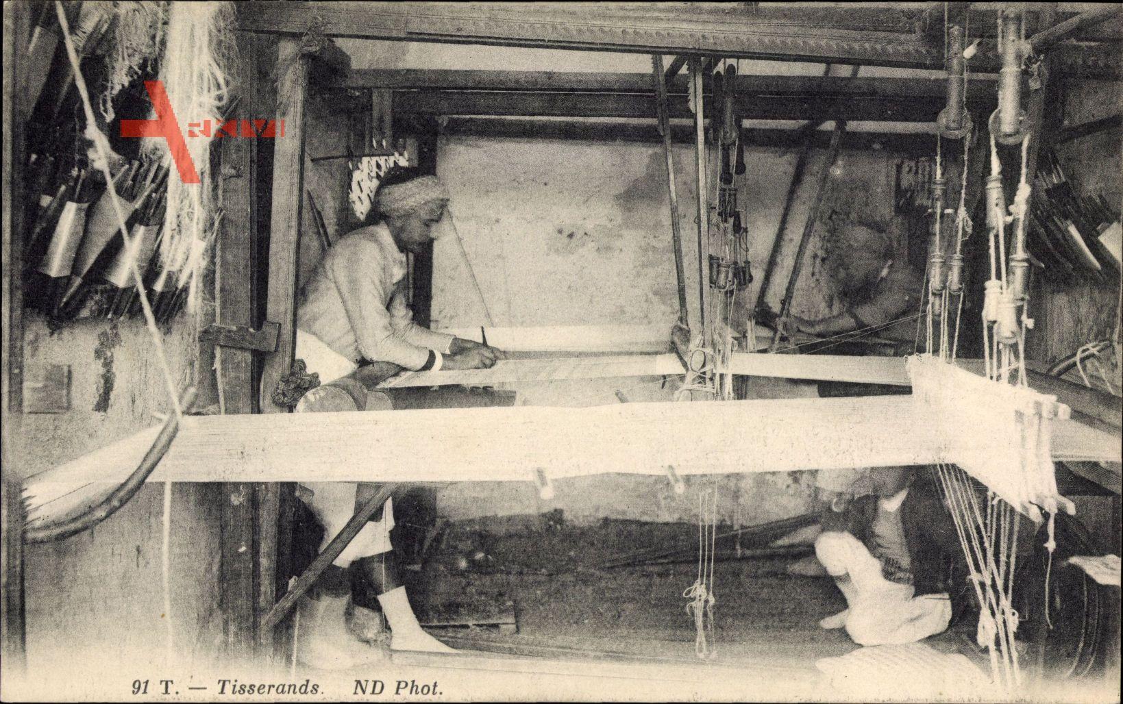 Tisserands, Weber bei der Arbeit, Webstuhl, Neurdein Frères N.D. 91 T
