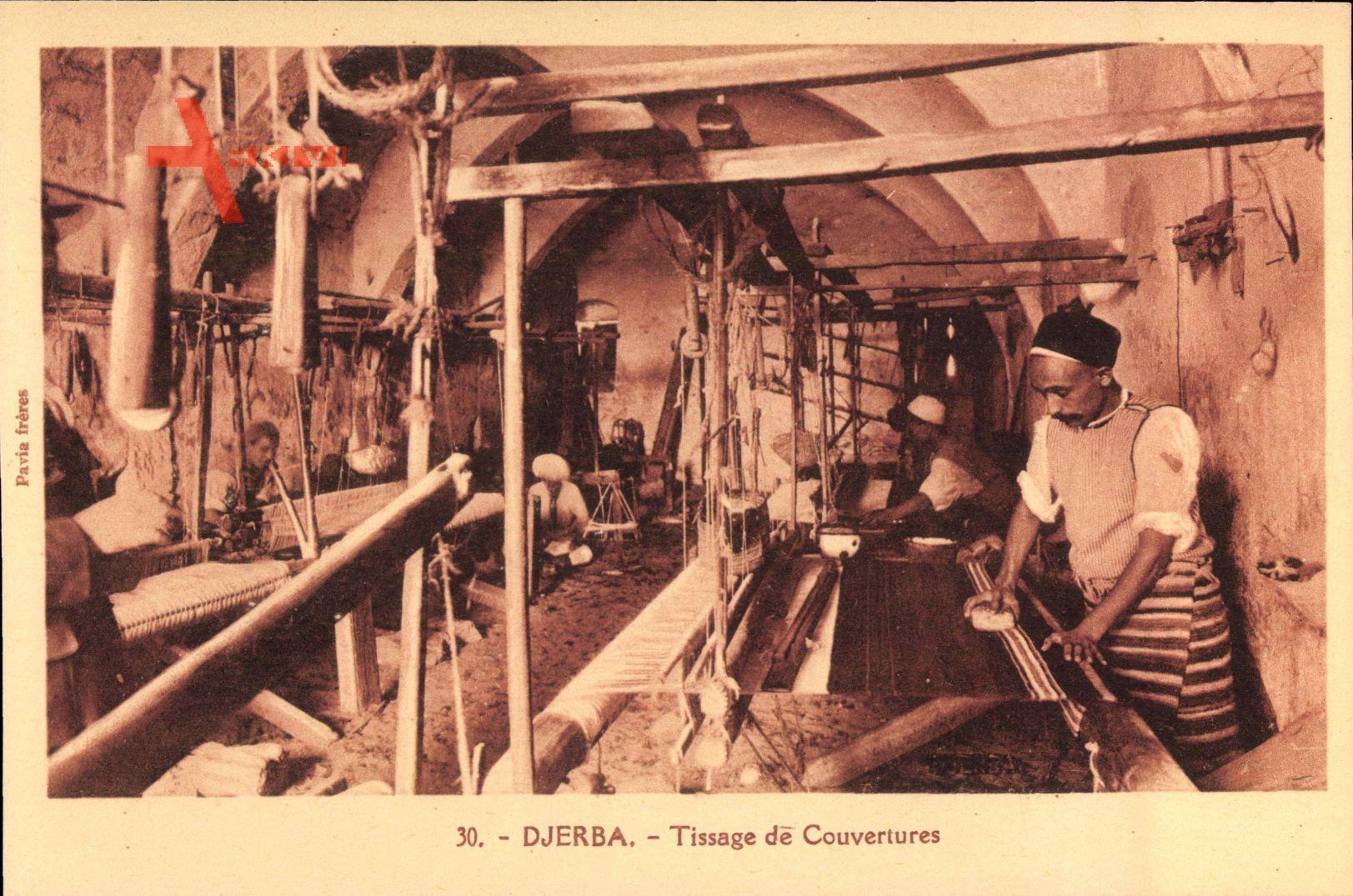 Djerba Tunesien, Tissage de Couvertures, Teppichweber bei der Arbeit