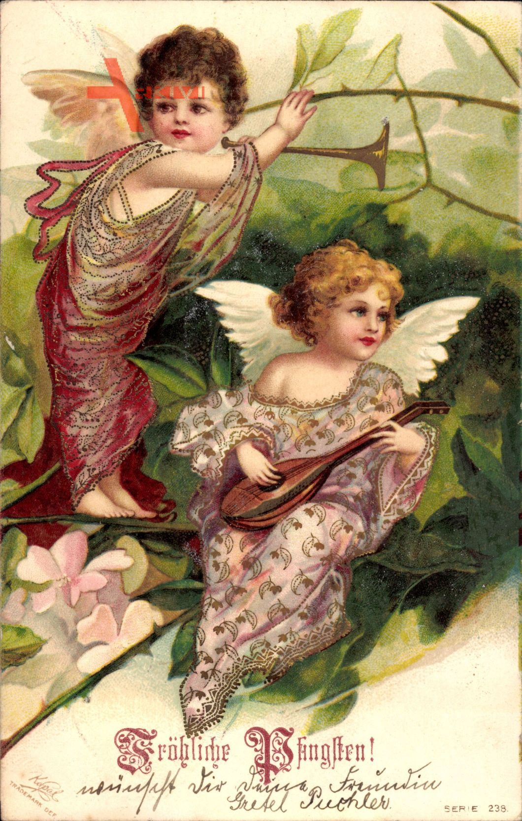 Glückwunsch Pfingsten, Zwei kleine Engel, Mandoline