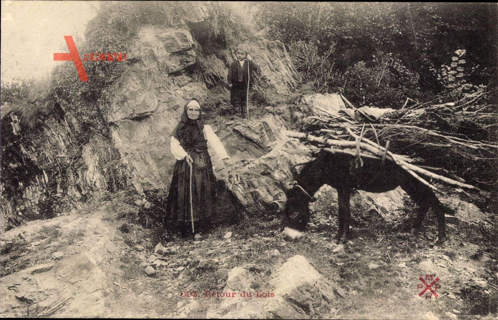 Retour du Bois, Rückkehr aus dem Wald, Lastenesel, Holzsammler