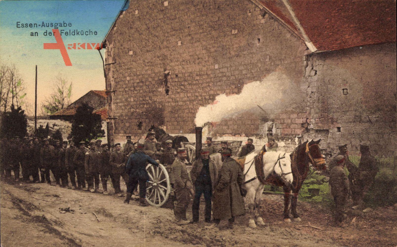 Essensausgabe an der Feldküche, Erster Weltkrieg, Pferdewagen
