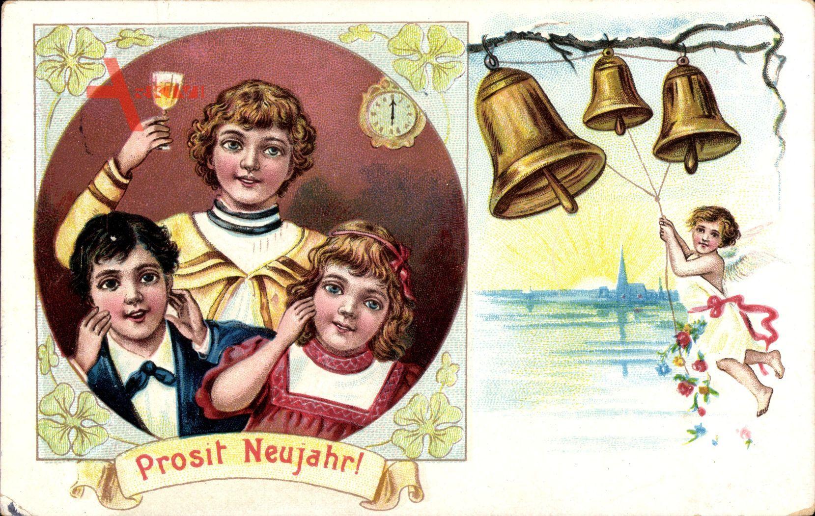Glückwunsch Neujahr, Kinder, Glas, Uhrzeit, Glocken, Engel