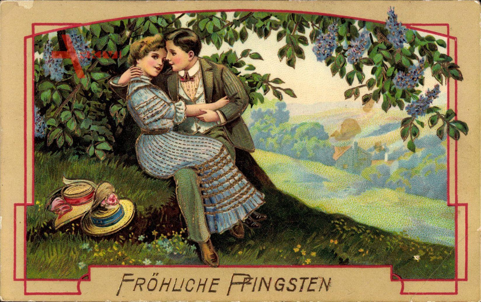 Glückwunsch Pfingsten, Liebespaar unter einem Baum