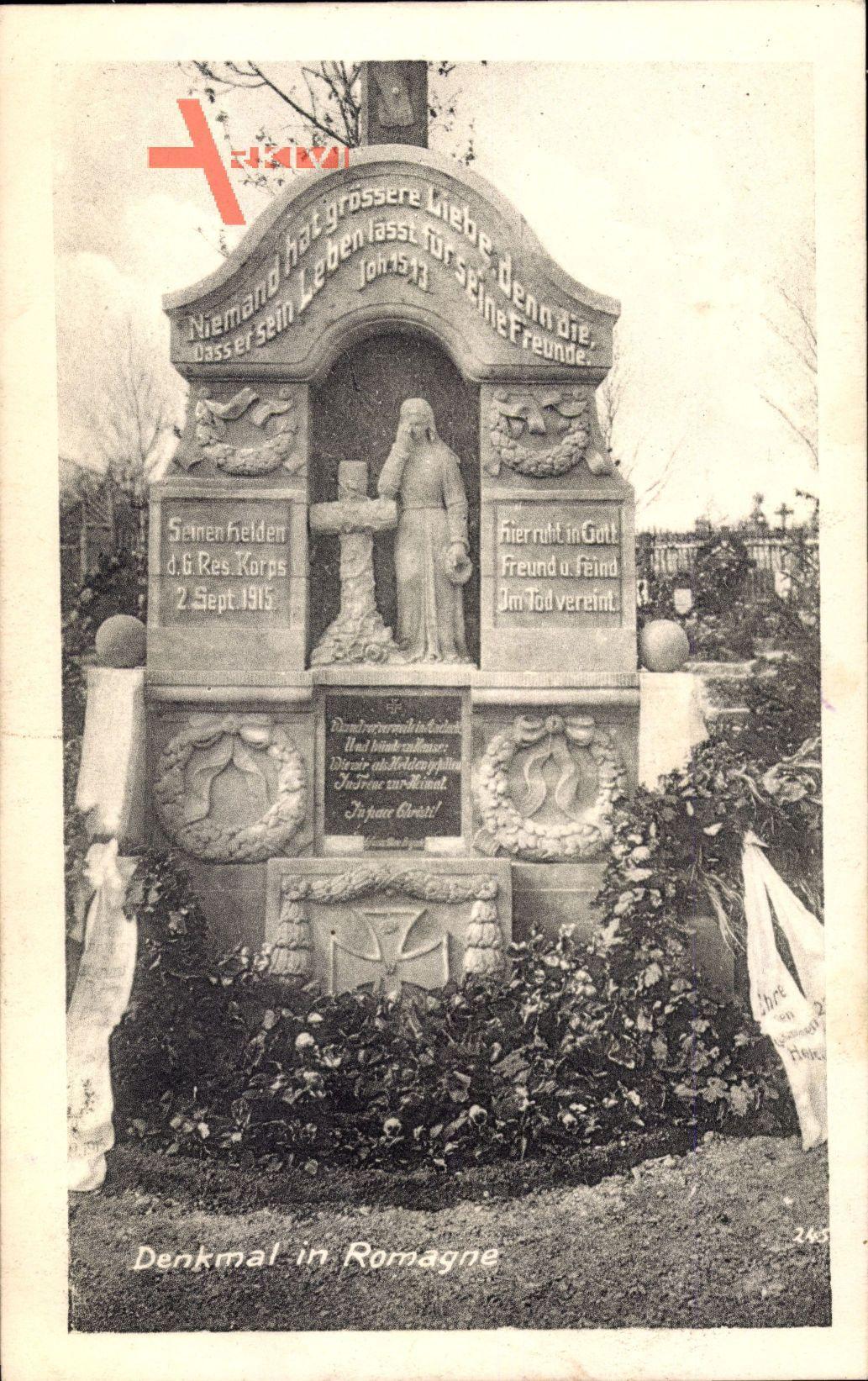 Romagne Meuse, Deutsches Denkmal, Erster Weltkrieg, 6 Res. Korps