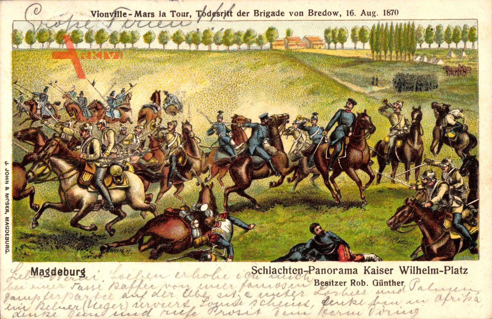 Magdeburg, Schlachtenpanorama Kaiser Wilhelm Platz, Bredow, Todesritt 1870