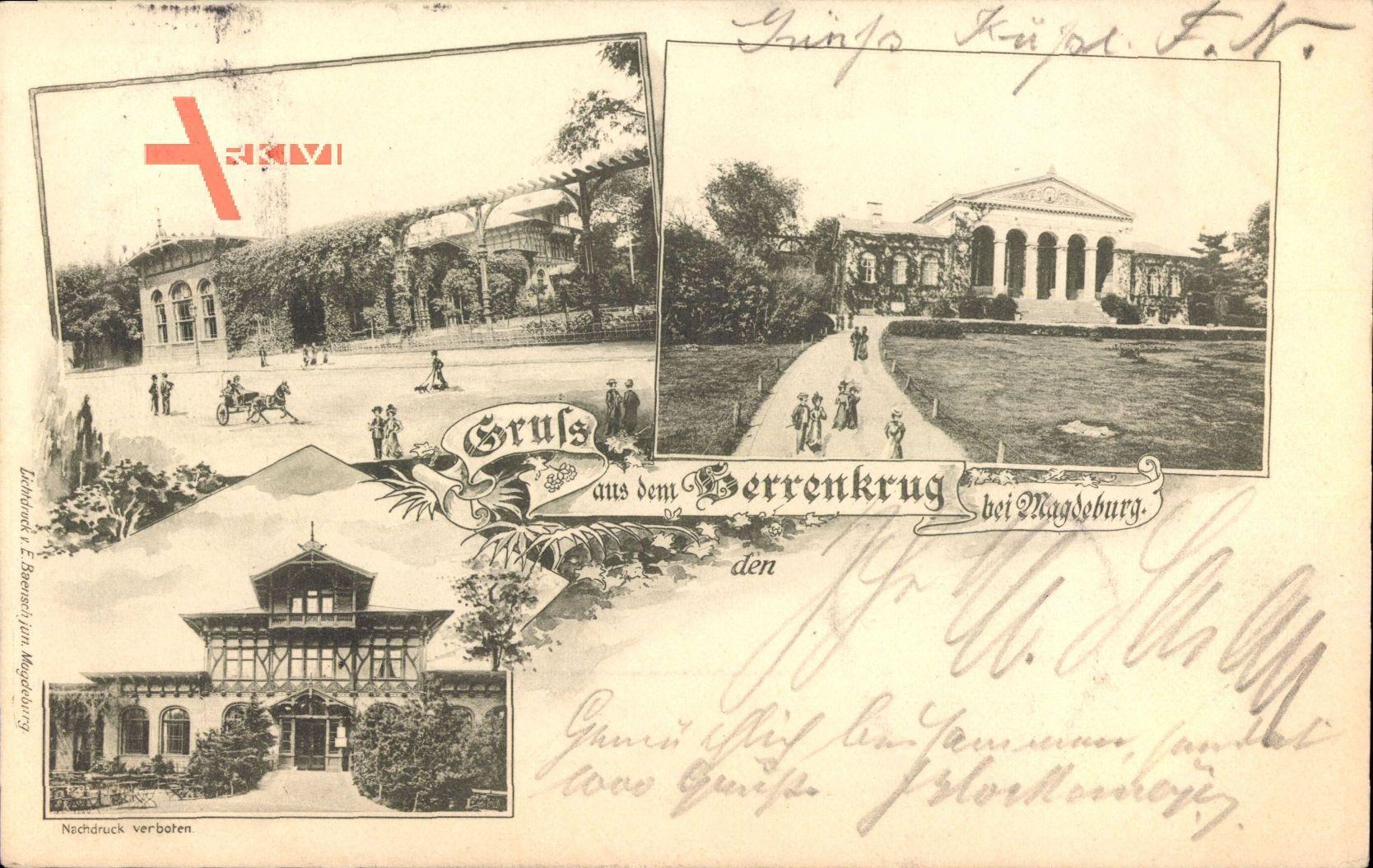 Herrenkrug Magdeburg, Partie im Park mit Bauten