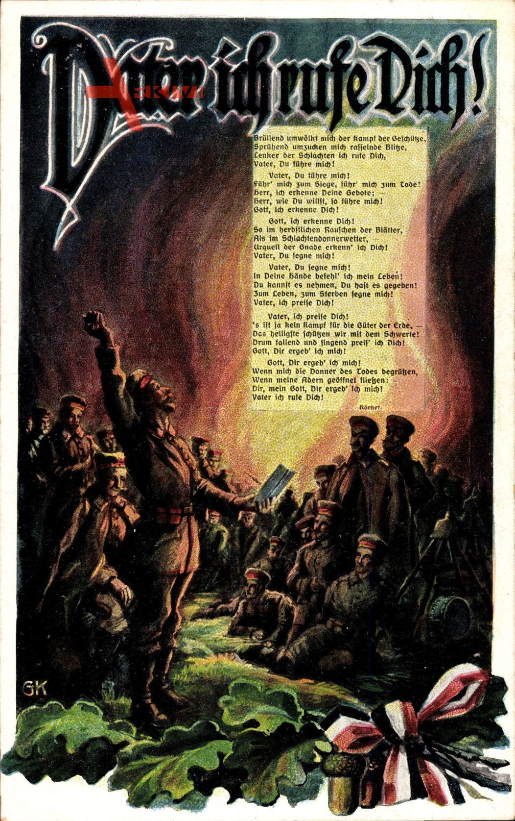 Vater ich rufe Dich, Soldat, Eichenlaub, Patriotik, Lagerfeuer, Gedicht