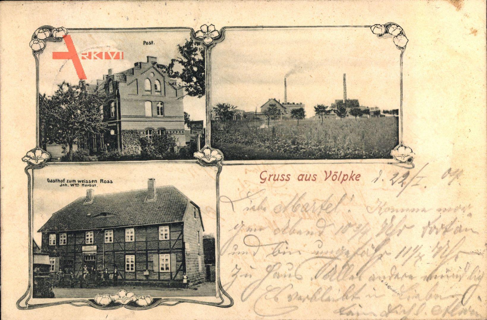 Völpke Kreis Börde, Post, Gasthof zum weissen Ross, W. Herbst, Fabrik