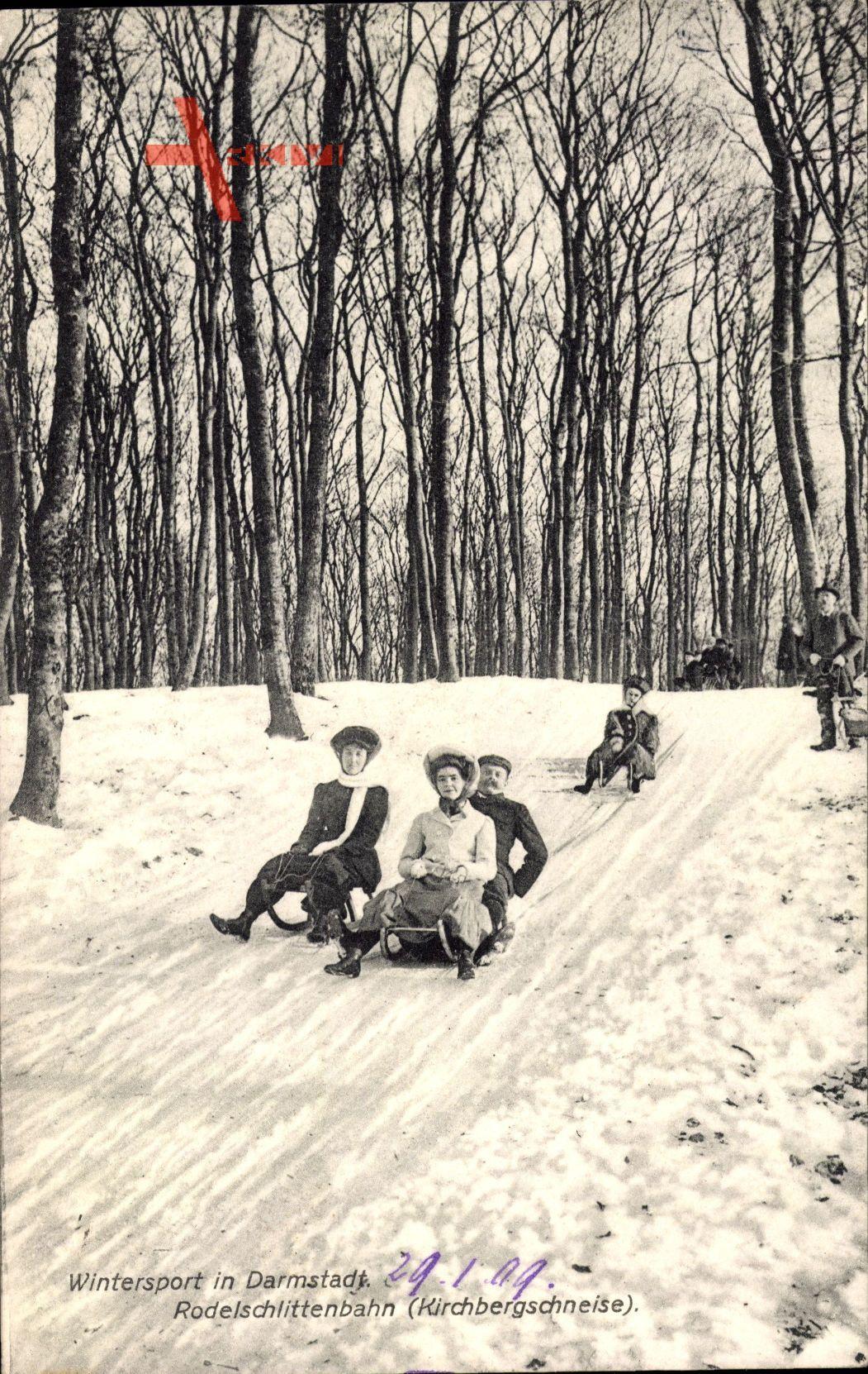 Rodelschlittenbahn im Winter in der Kirchbergschneise in Darmstadt um 1909