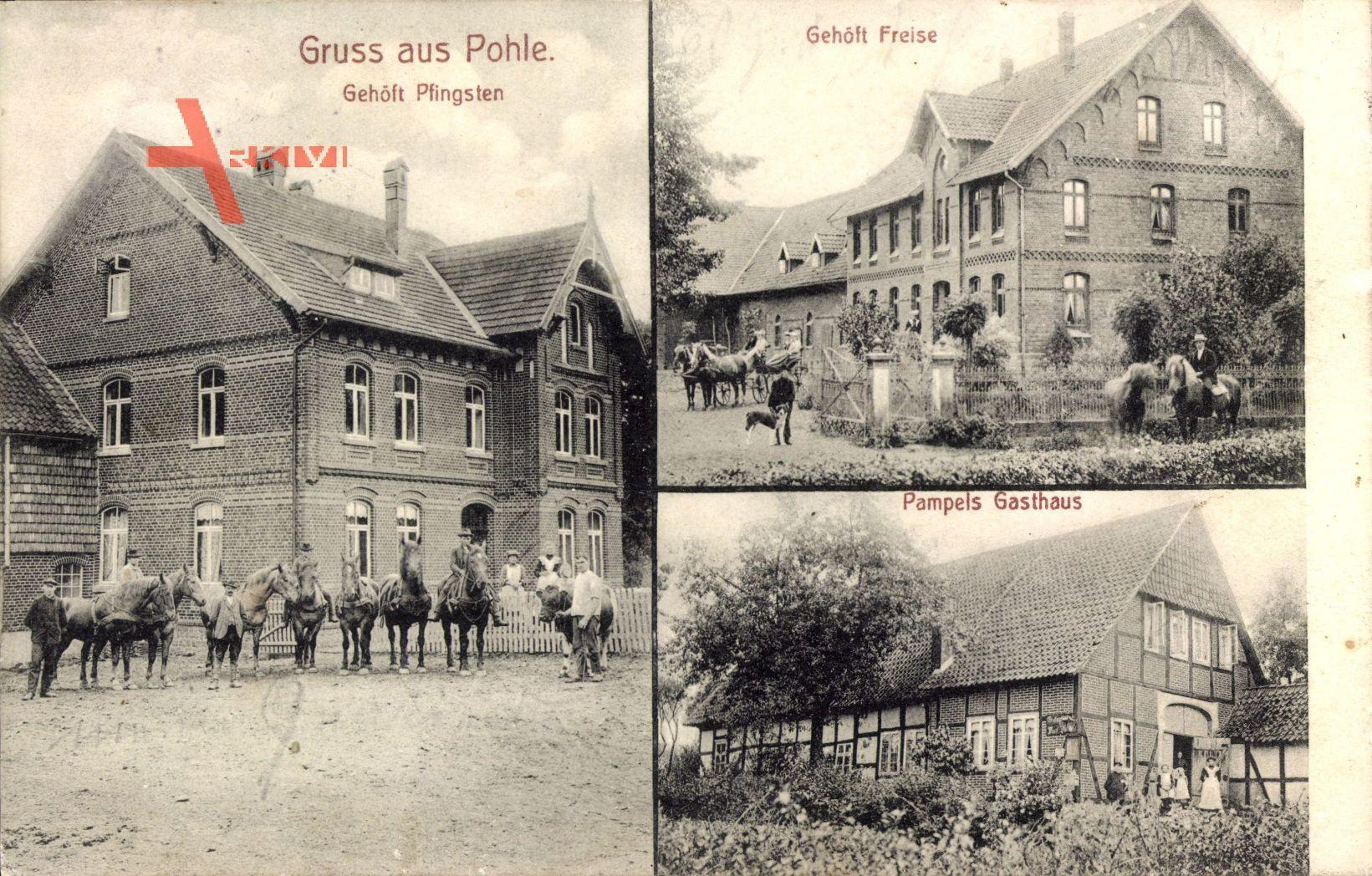 Pohle, Gehöft Pfingsten und Freise, Pampels Gasthaus, Fachwerkhaus
