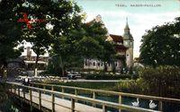 Blick auf den Kaiser Pavillon mit Brücke und Gewässer in Berlin Reinickendorf Tegel um 1915