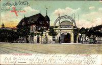 Straßenpartie mit Blick auf den Kurfürstenpark in Berlin Grunewald Halensee um 1906