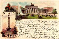 Berlin Mitte, Brandenburger Tor, Siegessäule, Passanten, Wasserfontäne