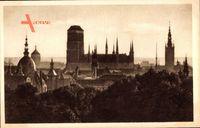 Gdańsk Danzig, St. Marien Kirche, Widok z gory Biskupiej