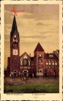 Berlin Neukölln, Straßenpartie mit Blick auf die St. Eduardkirche, Fassade