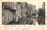 Berlin Spandau, Flusspartie in Alt Spandau, Brücke, Ruderboote, Häuser