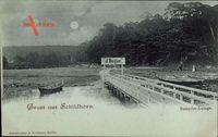 Mondschein Berlin Wilmersdorf Grunewald Schildhorn, Dampfer Anlage, J. Rieger
