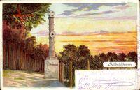 Berlin Wilmersdorf Grunewald Schildhorn, Blick auf ein Denkmal, Wald