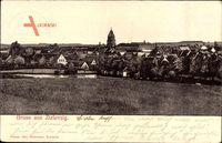 Zielenzig Sulecin Ostbrandenburg, Blick auf den Ort, Kirchturm, Feld