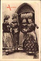 Oberfränkische Bauernmädchen aus Effeltrich, Goldkronen, WHW