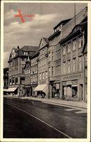 Uelzen, Cafe Harder, Inh. K. Jürisch, Straßenpartie, Passanten, Fenster