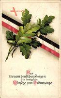 Glückwunsch Geburtstag, Eichenlaub, Patriotik, Kaiserreich