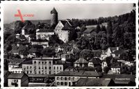 Porrentruy Pruntrut Kt. Jura Schweiz, Blick auf den Ort, Schloss, Turm