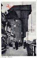 Gdańsk Danzig, Ansicht vom Krantor, Mottlauufer, Passanten