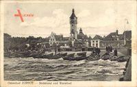 Sopot Gdańsk Zoppot Danzig, Südstrand und Warmbad, Turm