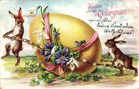 Glückwunsch Ostern, Osterhase, Großes Osterei