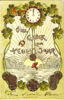Münz Glückwunsch Neujahr, Uhr, Kleeblätter, Pilz, Sonnenuntergang