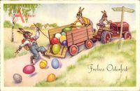 Glückwunsch Ostern, Ostereier fallen aus dem Anhänger, Traktor, Osterhasen
